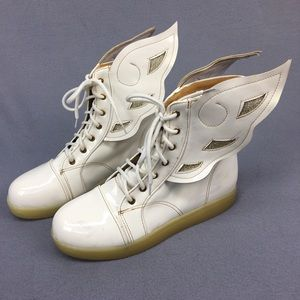 White Vinyl Shoes with Wings Lace Up Punk Retro